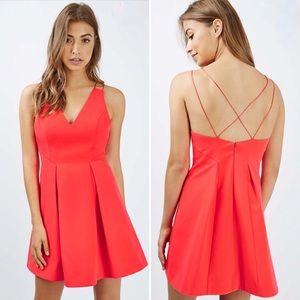 Topshop Red Strappy Bonded Mini Dress